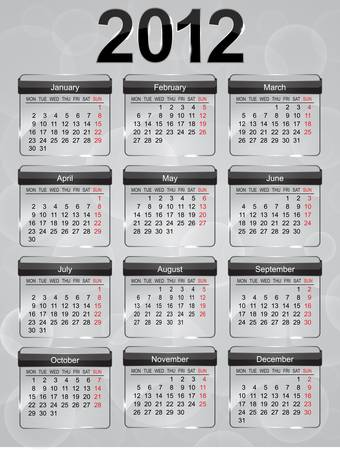 Glass calendar icons for 2012 year. Stock Vector - 10616417