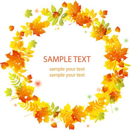 Autumn leaves background. Colorful illustration Vector