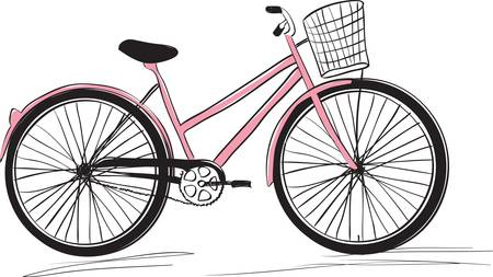 pedaling: Classic ladies shopping bike.  Illustration