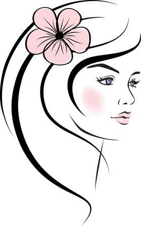gezicht: schoonheid vrouw gezicht. design elementen. Stock Illustratie