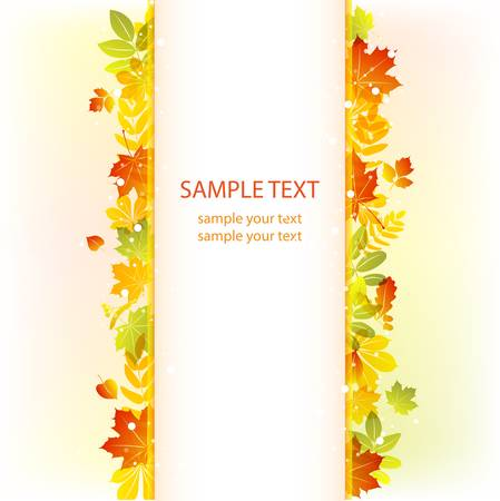 fall decoration: Autumn leaves background. Colorful illustration Illustration