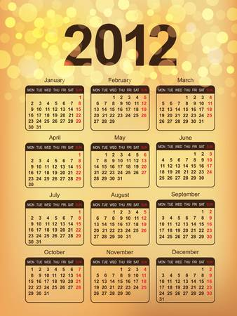 2012 Calendar. Abstract Gold Background in eps10. Vector
