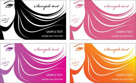 Stylish face of woman with long hair. Template design card Stock Vector - 10693178