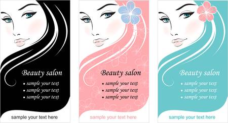 Stylish face of woman with long hair. Template design card Vector
