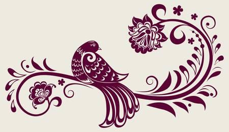 duif tekening: vintage achtergrond met florale decoratie vogel Stock Illustratie