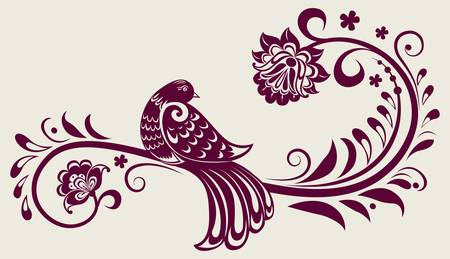 bird icon: vintage floral background with decorative bird