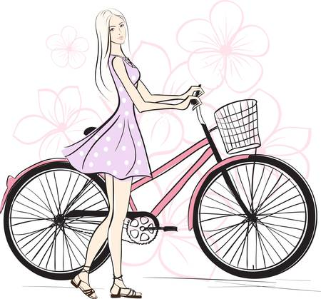 girl: romantic Girl with bicycle. Colorful illustration