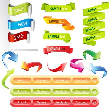 website buttons: Stickers and banners colorful illustration set