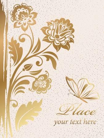 stencil flower: Gold decorative floral background. Colorful illustration