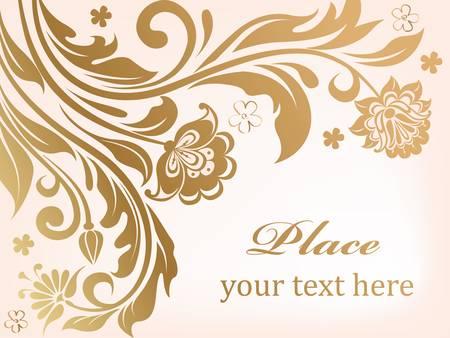 golden texture: Gold floral background with decorative flowers illustration Illustration