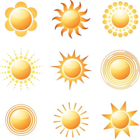 sun: Abstract sun icon collection. Colorful vector illustration