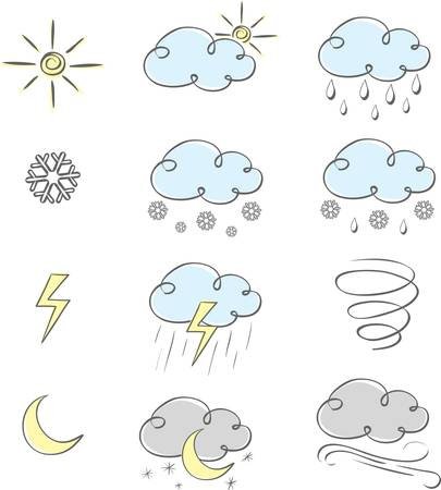 Hand drawn cute weather icons collection. Vector illustration. Vector