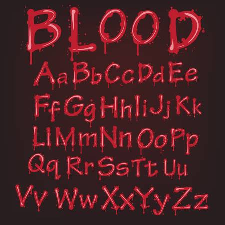 bleeding: Abstract red blood alphabet. vector letters isolated