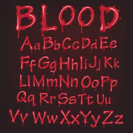 blood flow: Astratto alfabeto rosso sangue. lettere vettore isolato Vettoriali