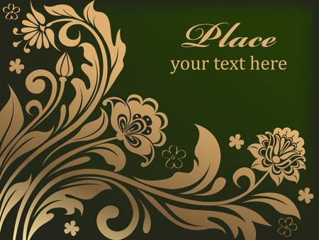 Gold floral background with decorative flowers. Vector illustration.