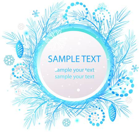 Blue abstract Christmas banner. Vector