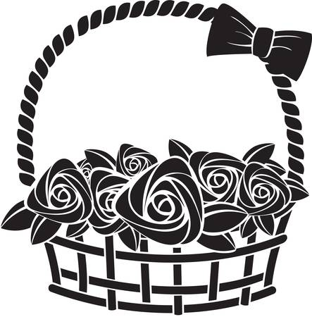 abstract flowers: gift basket with roses. Illustration