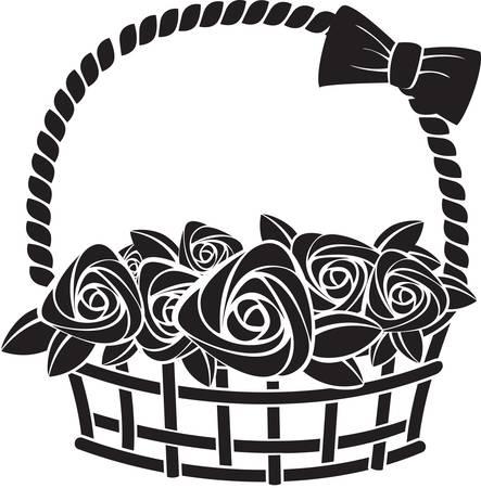 gift basket: gift basket with roses. Illustration