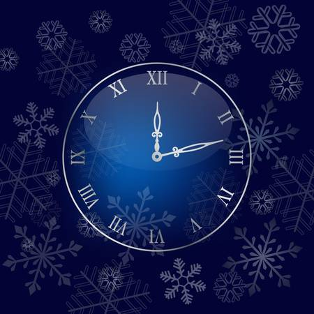 year january: Christmas wall clock background. Colorful vector illustration Illustration