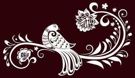 tatouage oiseau: Branche d�corative avec un oiseau. feuilles d�coratives. Illustration