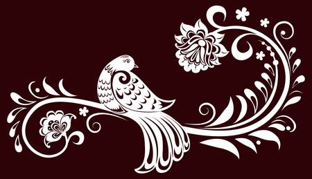 pleasing: Decorative branch with a bird. decorative leaves. illustration Illustration