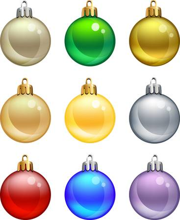 group of christmas baubles: Isolated christmas balls set.
