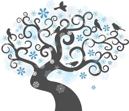 Abstract winter tree background. Colorful illustration Vector