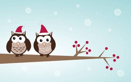 Owls couple in christmas hats on the tree branch. Holiday greetings card Vector