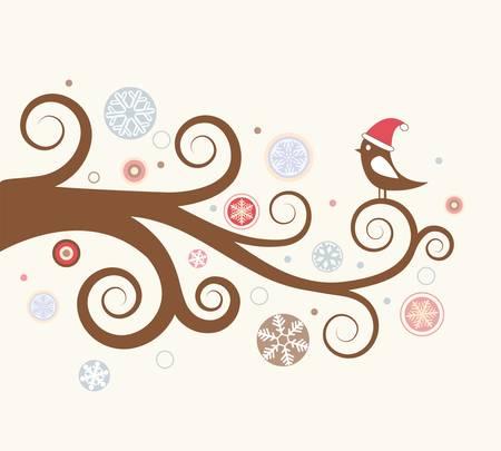 christmas tree illustration: Christmas card. Bird on a winter branch. illustration Illustration