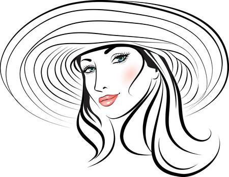 beauty girl face in a hat. design element.  Stock Vector - 11671477