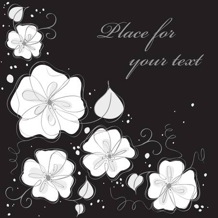 Cute black floral card background. Vector