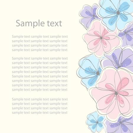 flore: Cute black floral card background. vector illustration Illustration