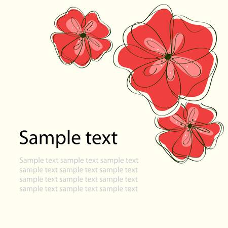 Cute black floral card background. vector illustration Vector
