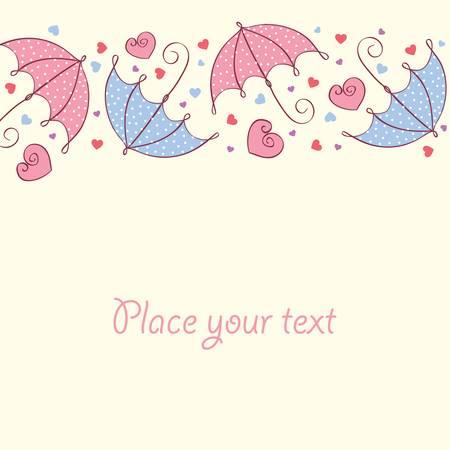 stylize: hou kaart met hartjes en een paraplu. Retro-stijl. Vector illustratie