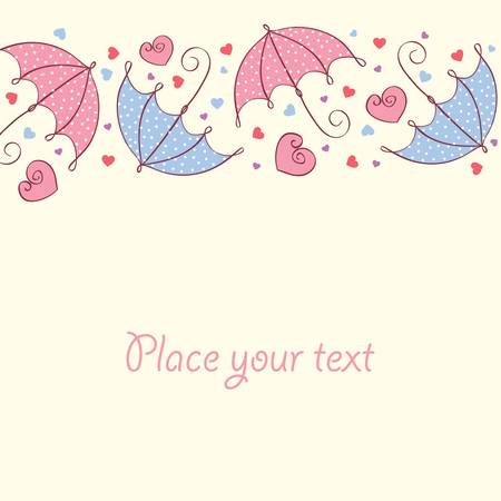 stylize: love card with hearts and umbrella. Retro style. Vector illustration