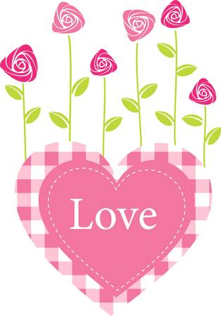 Roses grow from heart. Romantic vector illustration Vector