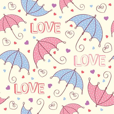 romantic seamless love background with heart and umbrella. Vector illustration Vector