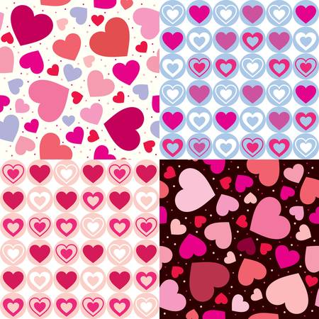 with sets of elements: set valentine seamless hearts pattern. Vector illustration