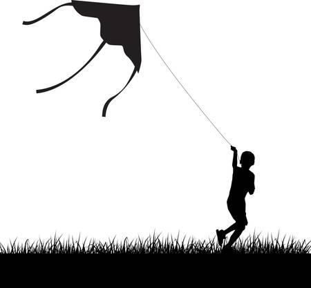 凧: ケイトの飛行と走っている少年の影絵。ベクトル イラスト