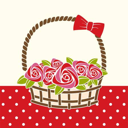 gift basket: gift basket with roses. Abstract vector illustration Illustration