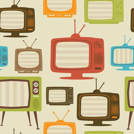 テレビ レトロなシームレスなパターン。カラフルな抽象的なベクトルの背景。