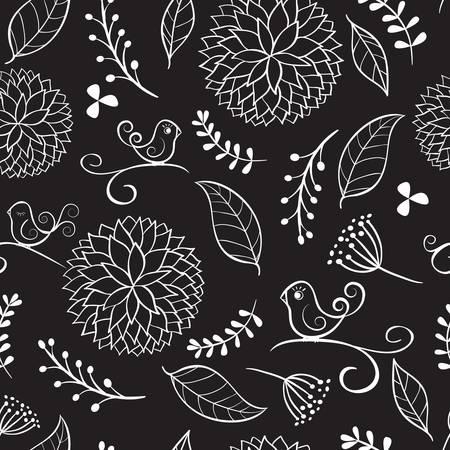 dibujos lineales: Fondo floral del verano con los pájaros.