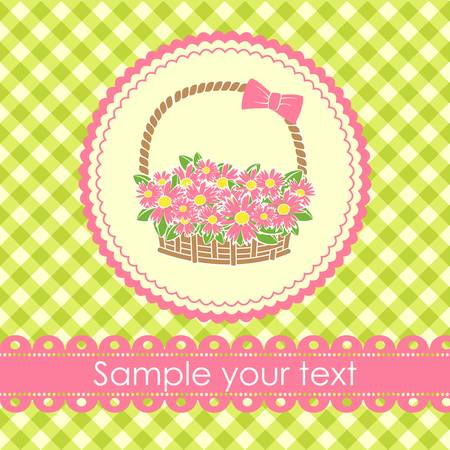 gift basket with flowers. Vector