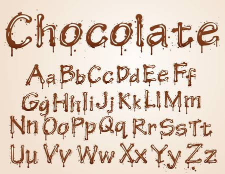 runny: dark chocolate alphabet on a white background. Illustration