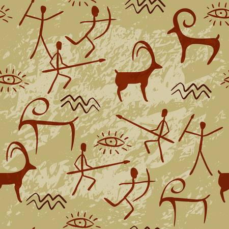 Cave Painting Seamless Pattern. Colorful illustrator Vector