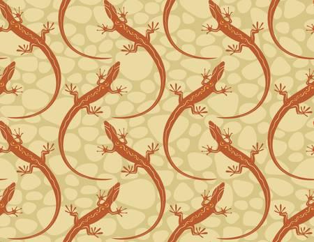 salamander: lucertole stile su un modello di carta da parati senza soluzione di continuit�. Illustrazione