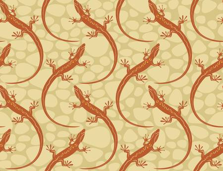 style lizards on a seamless wallpaper pattern. Illustration Vector
