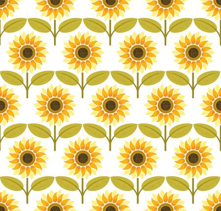 Sunflower background pattern. Colorful illustration Vector