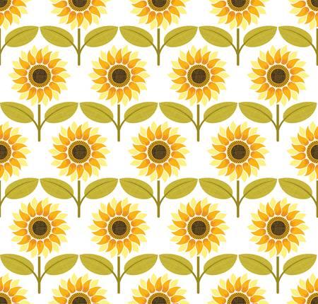 Sunflower background pattern. Colorful illustration Vector