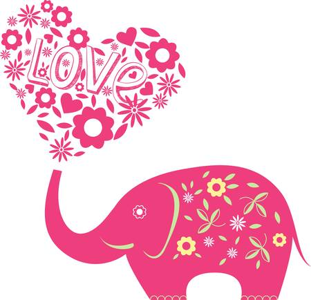 elephant icon: Abstract illustration with elephant and hearts